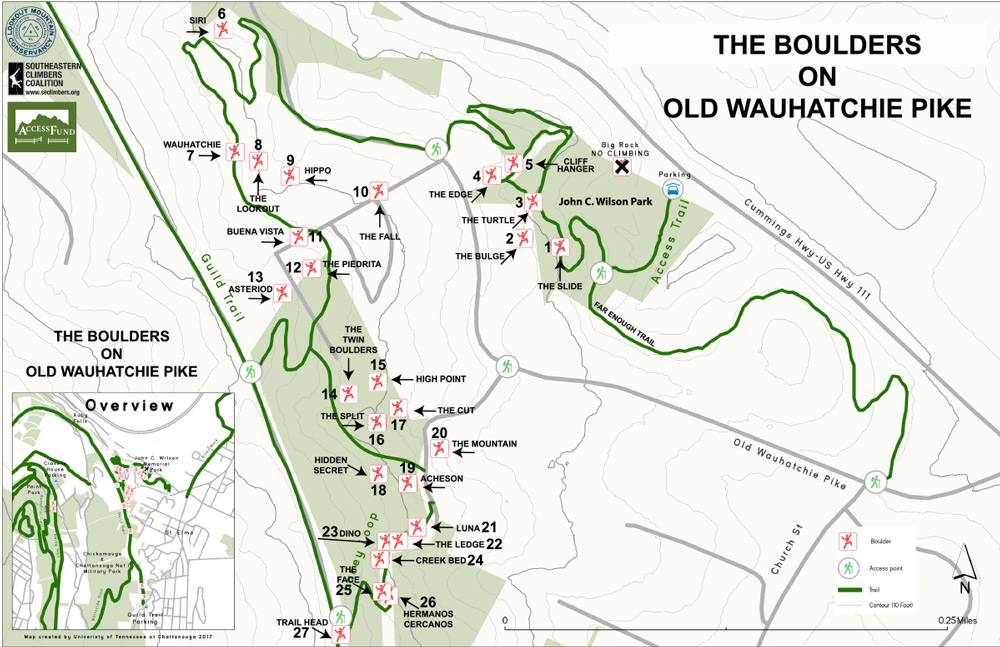 Map of Boulders on Old Wauhatchie Pike