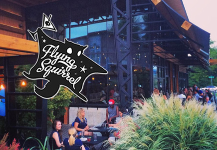 Flying Squirrel Logo and outside image of the Flying Squirrel Restaurant