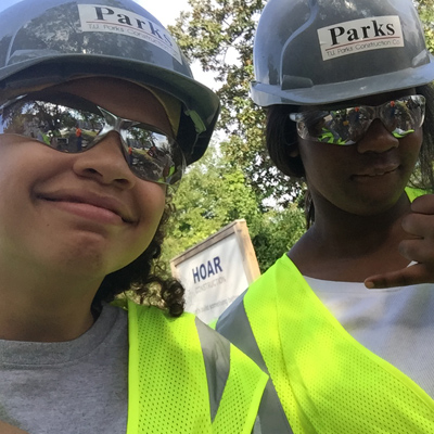 Imani and Honesty at T.U. Parks construction site