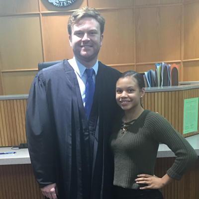 Judge McVeagh and Imani at the General Sessions Circuit Court