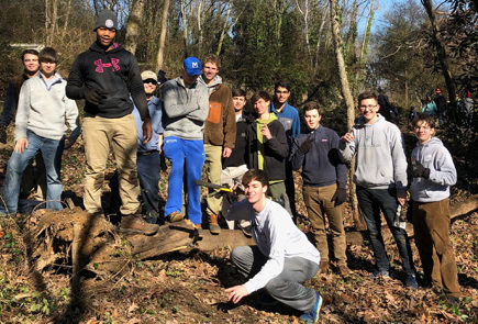 MLK day McCallie Students with Intern, after working on a hard project together