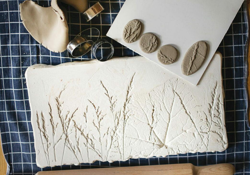 making impressions of plant life