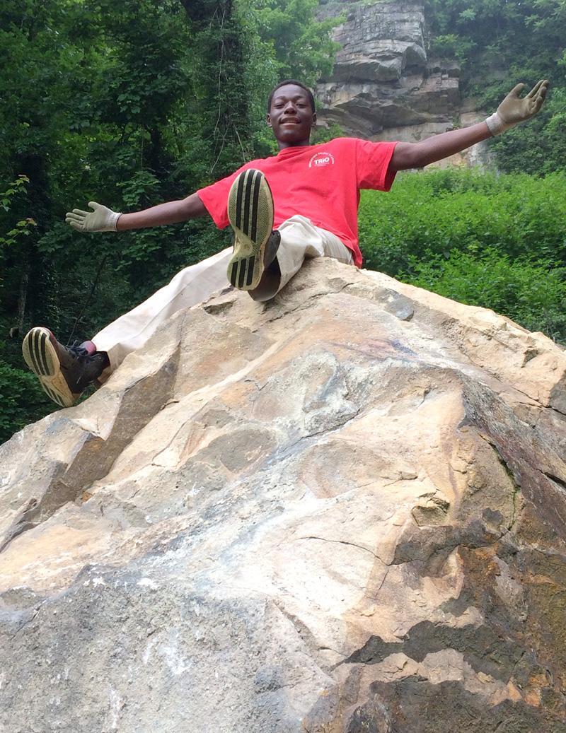 boy on boulder