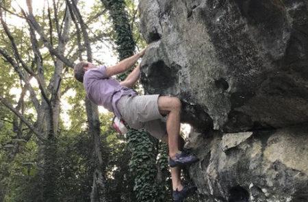 "Climber on the boulder ""Cliff Hanger"""