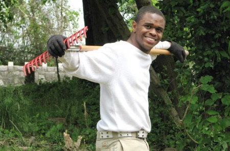 Teen with a rake